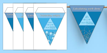 GCSE Science - Physics Equation Triangles Display Bunting - maths in science, equation, equations, calculation, calculating