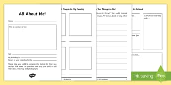 All about Me KS1 to KS2 Transition Booklet - moving up, new class, new teacher, parents, home