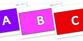 A-Z Alphabet on Rectangles - A-Z, A4, display, Alphabet frieze, Display letters, Letter posters, A-Z letters, Alphabet flashcards