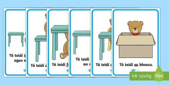 Prepositions Display Posters Gaeilge - teidí, ar, in aice, idir, faoin. prepositions, gaeilge, posters, display,Irish