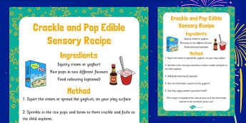 Crackle and Pop Edible Sensory Recipe - crackle, pop, edible, sensory, recipe