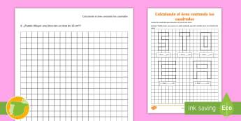Ficha de actividad: Calculando el área contando los números - geometría, geometria, área, area, areas, áreas, perímetro, perímetros, matemáticas, matemátic