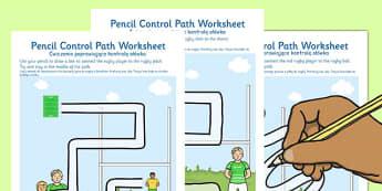 Rugby Pencil Control Path Worksheets Polish Translation - polish