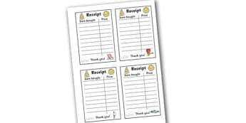 Role Play Receipts (Seaside) - Role Play, receipt, role play area, seaside, shop, shops, shop receipt, play receipt