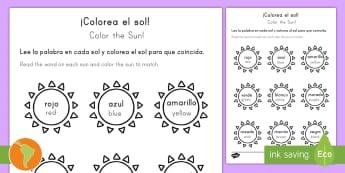 Color the Sun Activity Sheet Spanish (Latin)/US English - Summer, summer season, first day of summer, summer vacation, worksheet, summertime, sun, color words