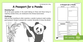 A Passport for a Panda Activity Sheet - Amazing Fact Of The Day, amazing fact a day april, activity sheets, powerpoint, worksheet, starter,