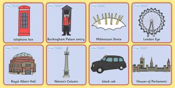 London Square Cards -  London Square cards, cards, flashcards,  London, England, Big Ben, London Eye, Houses of Parliament, Buckingham Palace, sightseeing