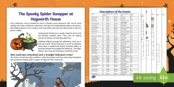 LKS2 The Spooky Spider Swapper at Hagworth Hall Mystery Maths Game - Maths Mysteries, All hallow's Eve, Halloween, problem solving, y3, y4, puzzle, challenge