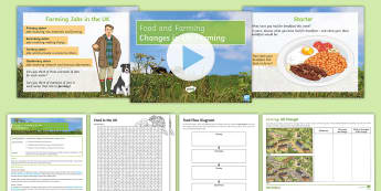 Food and Farming Lesson 1: Changes in Farming in the UK - development, technology, farm, pastoral, arable, industry, primary