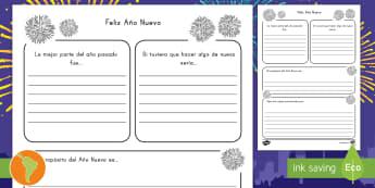 Ficha de actividad: Propósitos para el Año Nuevo  - Año nuevo, propóstos de año nuevo, nuevo año, escritura, español