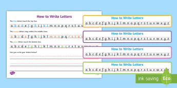 How to write letters Writing Strips - Write name, line guide (landscape), Line Guides, name, Handwriting, Writing aid, Learning to write
