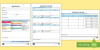 EYFS Retrospective Planning Templates Pack  - In the Moment Planning, Anna Ephgrave, ITMP, ,Australia, spontaneous,