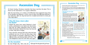 Ascension Day Comprehension Sheets - ESL Easter Reading