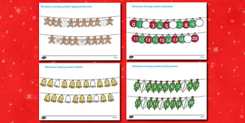 Christmas Missing Numbers Number Line Activity Sheet (0-10) - christmas, Jesus, tree, stocking, present, activity, cracker, angel, snowman, advent , bauble sorting,