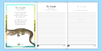 New Zealand The Crocodile Poem Handwriting Practice Activity Sheets, worksheet