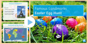 Famous Landmarks Easter Egg Hunt PowerPoint - Secondary - Easter Resources, place, guess the location, landmark.