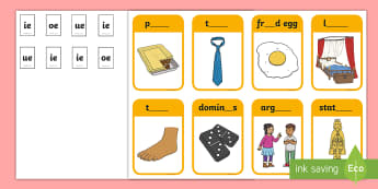Phase 5 Digraphs 'ie' 'oe' 'ue' Matching Peg Activity - Letters And Sounds, Blend, Decode, Phonics, blends