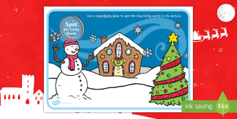 Phase 3 Tricky Words Christmas Scene Magnifying Glass Activity Sheet - phase 3, phase three, tricky words, christmas, scene, magnifying glass, magnify, glass, activity