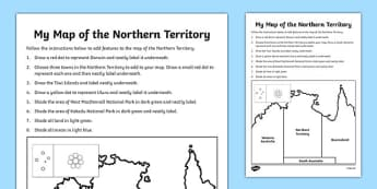 my map of the northern territory activity sheet