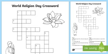 World Religion Day Crossword - KS1, World Religion Day 15th January, religions, world religions, Judaism, Christianity, Islam, Hind