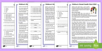 LKS2 Children's Mental Health Week Differentiated Reading Comprehension Activity - well-being, mental health, self image, self esteem, non fiction, PSHE, wellness, mindfulness