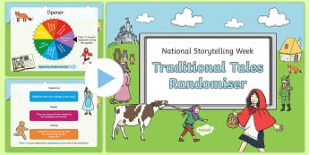 KS1 National Storytelling Week Traditional Tales Randomiser PowerPoint - Once Upon a Time, Happily Ever After, Beginning, Middle, End
