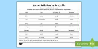 Water Pollution in Australia Odd Word Out Activity Sheet-Australia - Water in Australia, pollution, water, water pollution, environment,Australia