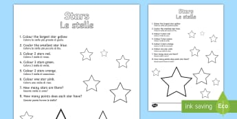 Star Colouring Comprehension Activity Sheet English/Italian - Star Colouring Comprehension Sheet - colouring, comprehension, worksheet, comprehesion, colering, co