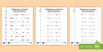 LKS2 Multiplication and Division Balancing Problems Differentiated Activity Sheets - Balancing equations, balancing sums, puzzles, reasoning, algebra, missing number problems