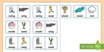 'sw' and 'w' Near Minimal Pair Dominoes - cluster reduction, s clusters, blends, sw, speech sounds, dyspraxia, speech, therapy, speech and lan