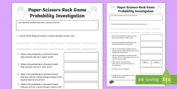 Paper-Scissors-Rock Probability Investigation Activity - ACMSP116, Probability, Fraction, Chance, Chance Outcomes, Likelihood, Possible Outcomes, Year 5 Math