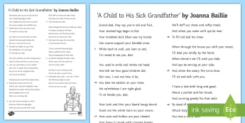 'A Child To His Sick Grandfather' by Joanna Baillie Literary Text - Poetry analysis, poetry exploration, GCSE English Literature, GCSE Poetry, poetry anthology, Joanna