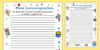 Mein Lernversprechen - german, my holiday, snapshot, writing frame, writing, frame, holiday