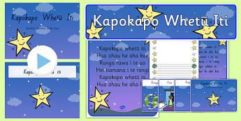 Maori Songs for kids - Kapokapo Whetū Iti Resource Pack Te Reo Māori - nz, new zealand, te reo māori, star, song, nursery rhyme