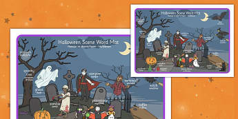 Halloween Scene Word Mat Polish Translation - polish, halloween, hallowe'en, scene, word mat, word, mat