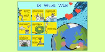 Water Conservation Poster - water, conservation, poster, display, science