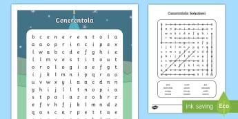 Cenerentola Parole Intrecciate - trova, leggere, scrivere, parola, italiano, italian, materiale, scolastico