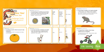 Chinese New Year Maths Word Problems Challenge Cards English/Afrikaans - January, celebrate, numeracy, addition, optel, somme, EAL