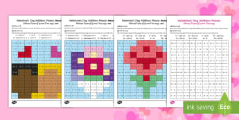 Valentine's Day Themed Addition Mosaics Activity Sheets English/Hindi - Valentine's Day,  Feb 14th, love, cupid, hearts, valentine, magical mosaics