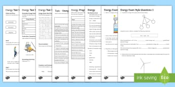 KS3 Energy Assessment Package - Assessment Package, energy, conduction, convection, radiation, fossil fuels, renewable energy