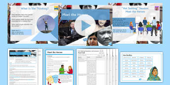 Meet the Heroes Lesson Pack - identity, identities, religion, culture, hobbies, individuals, qualities, race, interests, , values,