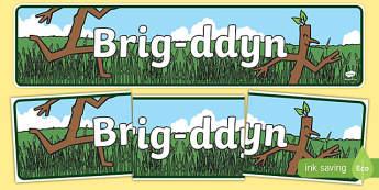 Baner Brig ddyn (Syml) Baner Arddangosfa-brigddyn, stickman, Brig-ddyn, Julia, Donaldson, Santa, Nadolig, Gaeaf, eira, coed, coeden, teulu,Welsh
