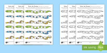 Solve the Snakes Maths Worksheet / Activity Sheet Pack US English/Spanish (Latin) - Grade 2 Maths Mastery, Place Value, digit, number, value, tens, units, ones, problem, reason, solve,