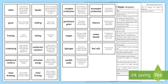 OCR 21st Century: Air and Water Loop Cards  - Exothermic Reactions, complete combustion, activation energy, potable water, fuel cells