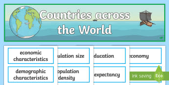 Countries Across the World Display Pack - geography, year 6, header, title, topic, wall, ACHASSK139,Australia