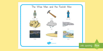 The Wise Man and The Foolish Man Word Mat - usa, america, the wise man, the foolish man, wise, foolish, sand, rock, word mat, writing aid, mat, rain, houses, building, house, bible story, bible