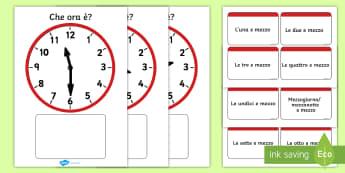 Orologio analogico e mezza Attività - tempo, gioco, mezza, leggere, orologio, analogico, italiano, italian, esercizio, materiale, scolasti