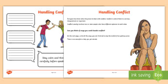 Handling Conflict Activity Sheet - friendship, behaviour, emotions, young people, anger, PSHCE