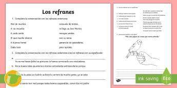 Los refranes nivel medio Ficha de actividad - Refranes, proverbios, dichos, frases, hechas, populares,Spanish