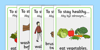 Health and Hygiene Display Posters Polish Translation - polish, Good health, hygiene, behaviour management, eat fruit, walk to school, vegetables, exercise, brush teeth, wash hands, drink water